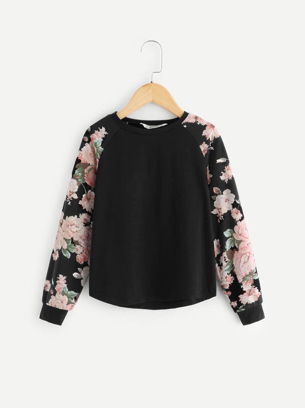 Girls Floral Raglan Sleeve T-shirt
