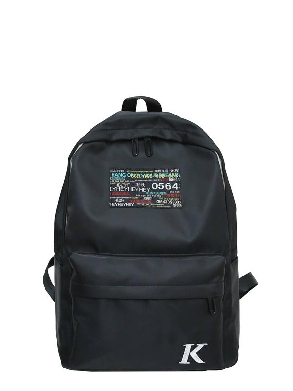 fb8faf81c8 Men Slogan Patch Decor Canvas Backpack -SheIn(Sheinside)