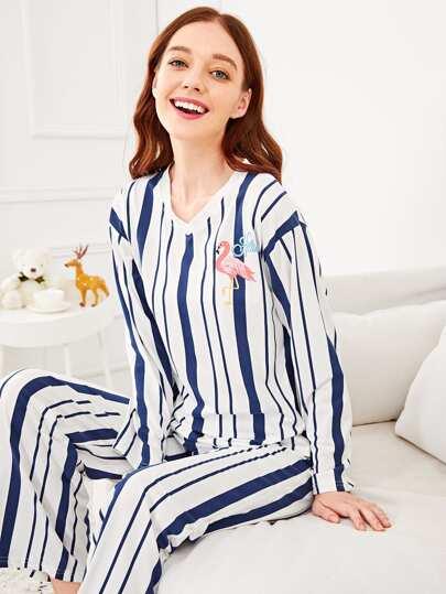 59c1d40ad3b Flamingo Print Striped Pajama Set
