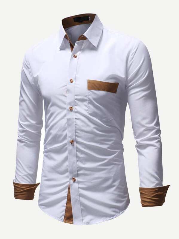 0b8a82cc1b54 Men Color Block Pocket Detail Shirt -SHEIN(SHEINSIDE)