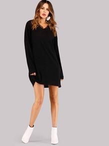 785034b05f Contrast Lace Sweater Dress