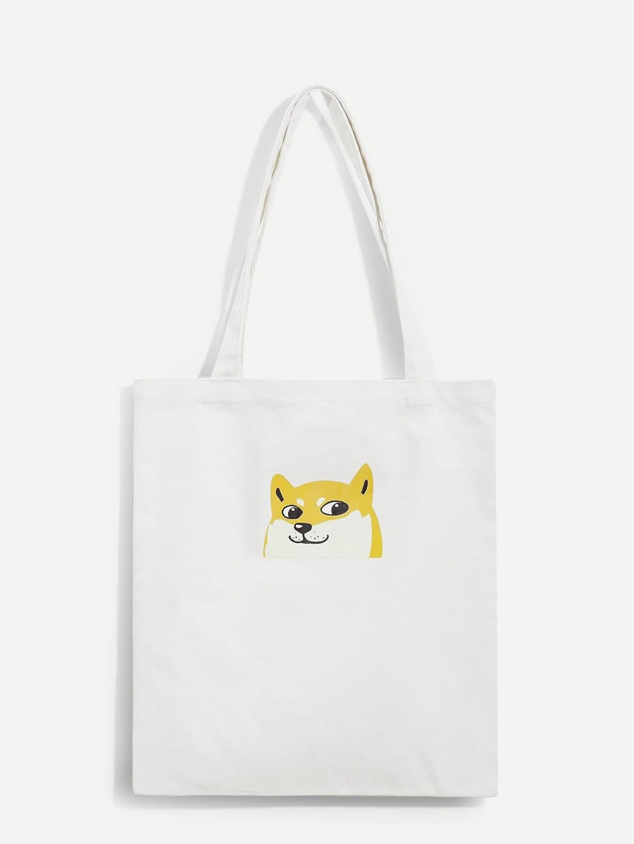 Dog Print Canvas Tote Bag by Sheinside