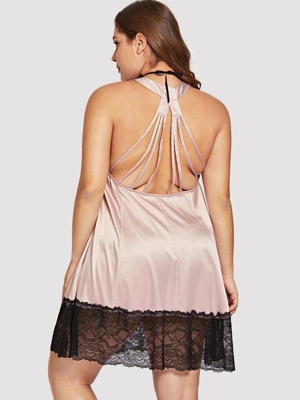 63fa78690db2a Plus Contrast Lace Satin Dress With Thong   Choker -SheIn(Sheinside)