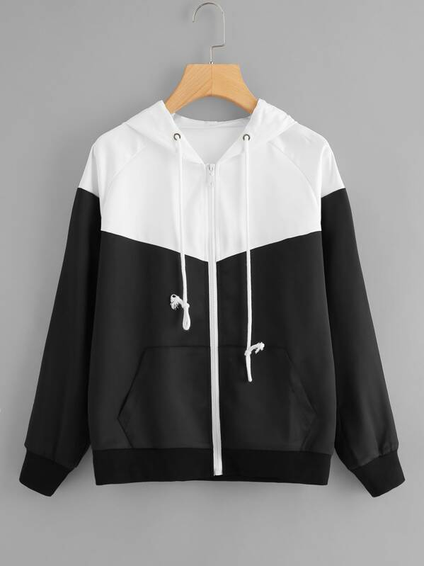 Drawstring Detail Hooded Jacket, Black and white