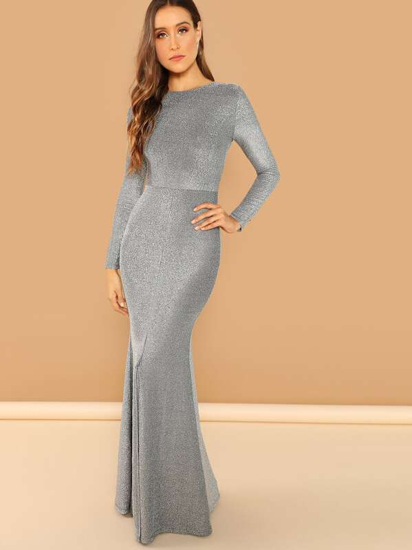 a70c108ca56 Open Back Slit Glitter Mermaid Prom Dress -SheIn(Sheinside)
