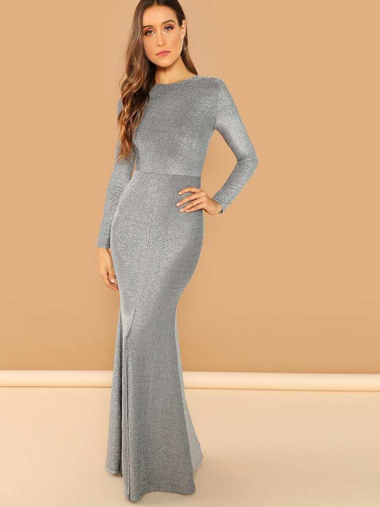 fe3e5528f74 Open Back Slit Glitter Mermaid Prom Dress