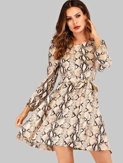 Gürtel Mit Und Mit Mit SchlangenmusterShein SchlangenmusterShein Gürtel Und Kleid Kleid Gürtel Kleid LzVqUpSGM