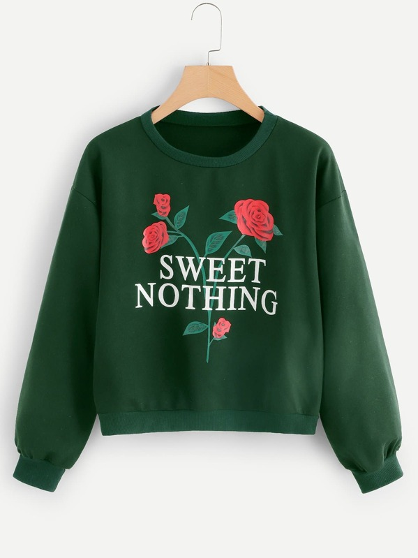 Letter And Flower Print Sweatshirt