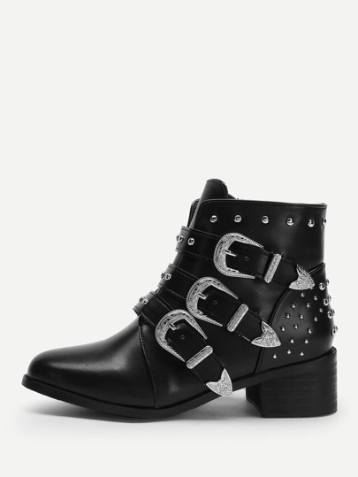 5bfe32b568668 Studded Buckled Ankle Boots