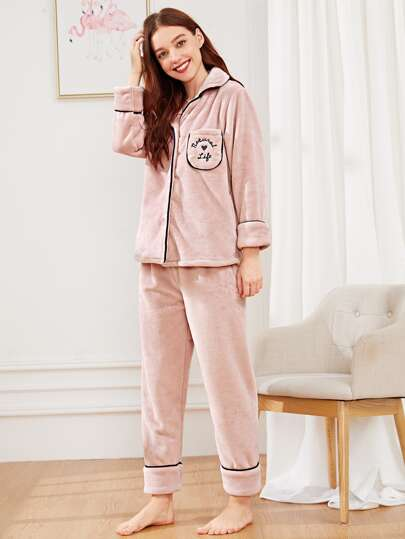 e4d7ee3b70 Heart   Letter Embroidered Pajama Set