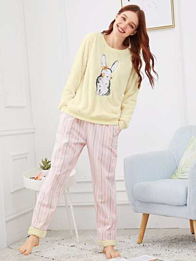 0d43d349dbc1 Rabbit Print Striped Plush Pajama Set