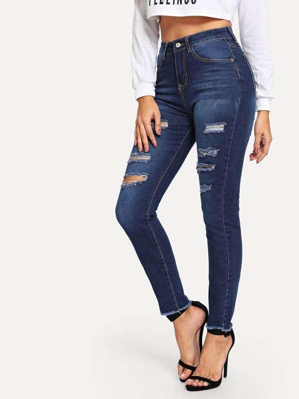Blå Knapp Tillfällig Jeans -Svenska SHEIN(SHEINSIDE) ce218fc79836d