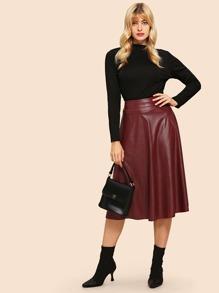 jupe style ann es 80 effet cuir avec large bande la taille shein. Black Bedroom Furniture Sets. Home Design Ideas