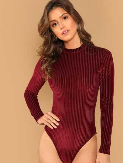 78fae9f11a Mock-neck Form Fitted Rib Velvet Bodysuit