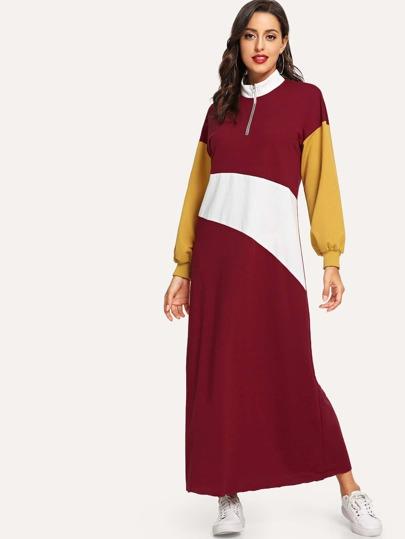 Zip Front Color Block Mock-Neck Dress d5d6e528b