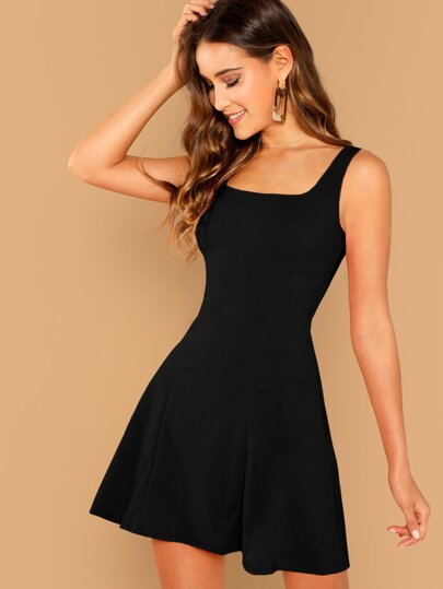 b9c353e0556e Solid Skater Tank Dress