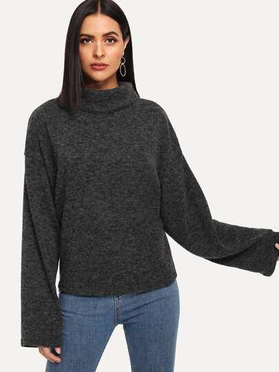 Suéter sólido de cuello alto ba1b7459759f
