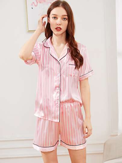 3d2f525948 Striped Button Up Satin Pajama Set