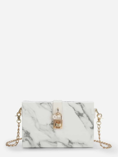 2760c6f60553 Marbled Print Clutch Bag With Chain