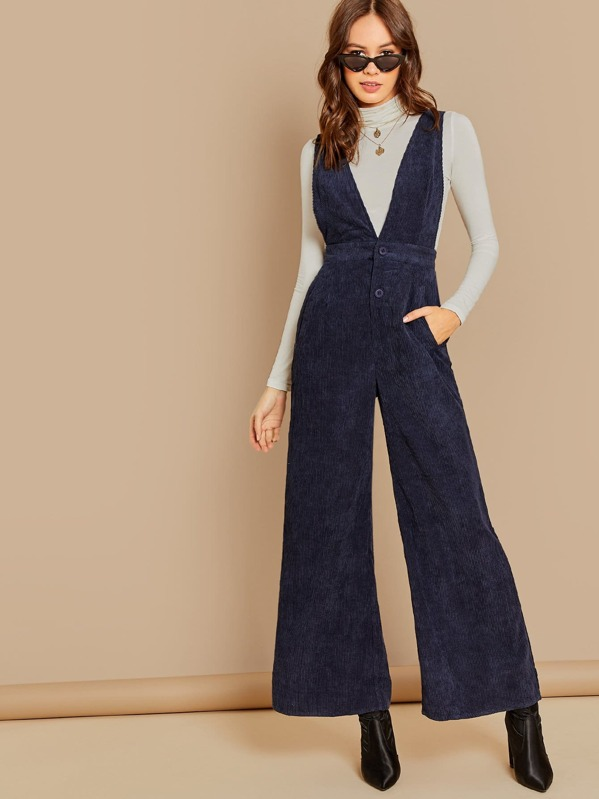 Button Up Plunging Neck Shell Cord Jumpsuit by Shein