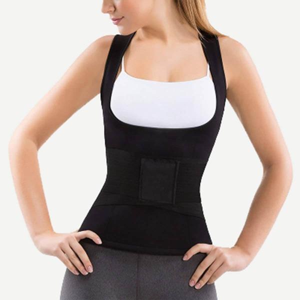 Waist Trainer Cincher Girdle With Vest Set 2pcs, Black