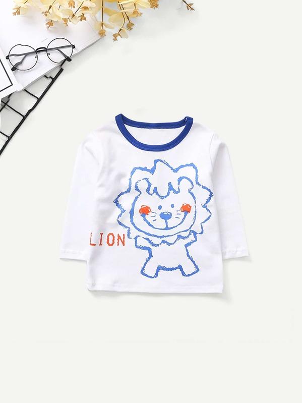 Toddler Boys Contrast Trim Lion Print Tee -SheIn(Sheinside) 33425784f9390