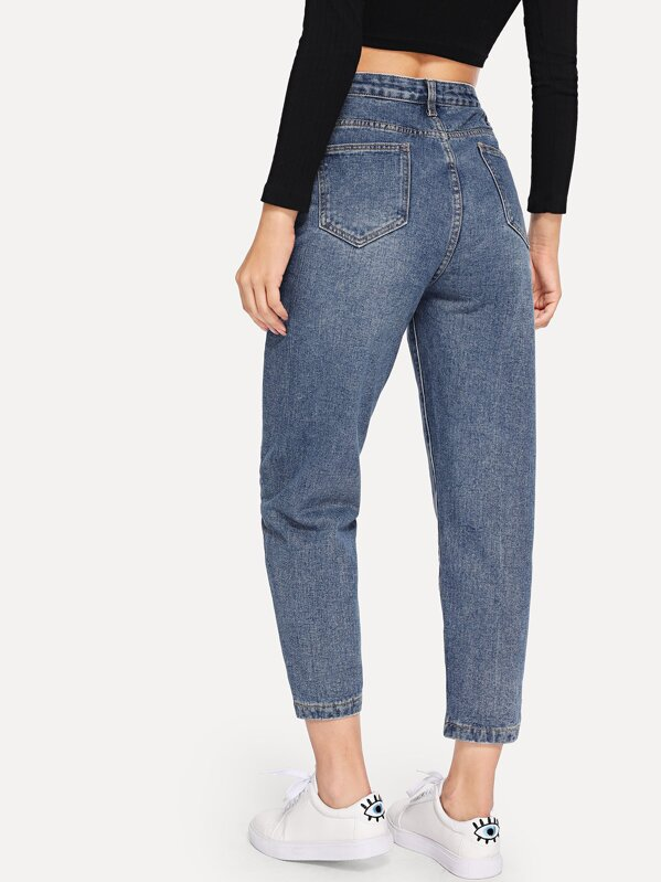 Button Front Pocket Detail Jeans by Sheinside