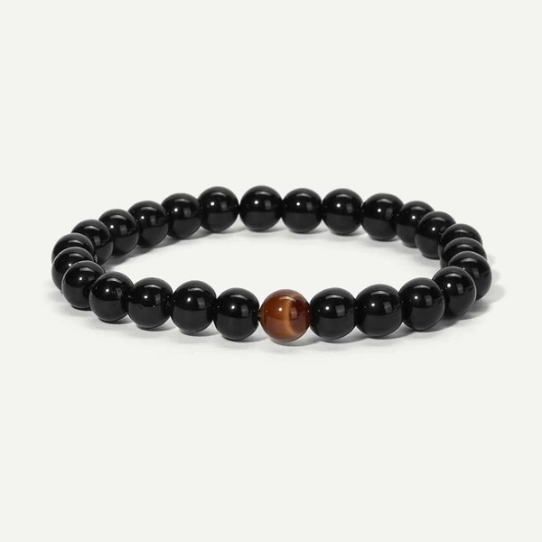 Men Plain Beaded Bracelet, Black