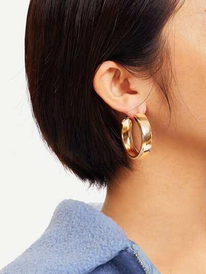 Wide Metal Hoop Earrings 1pair
