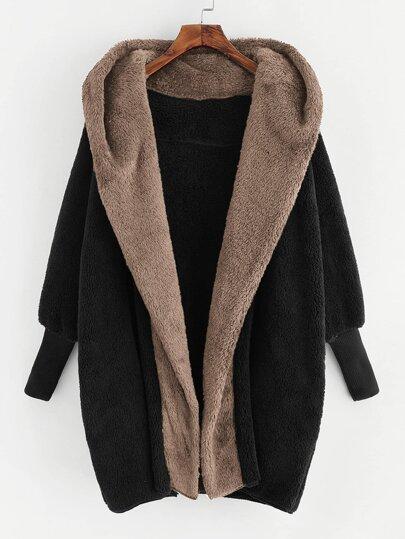 Open Front Faux Fur Hooded Teddy Coat