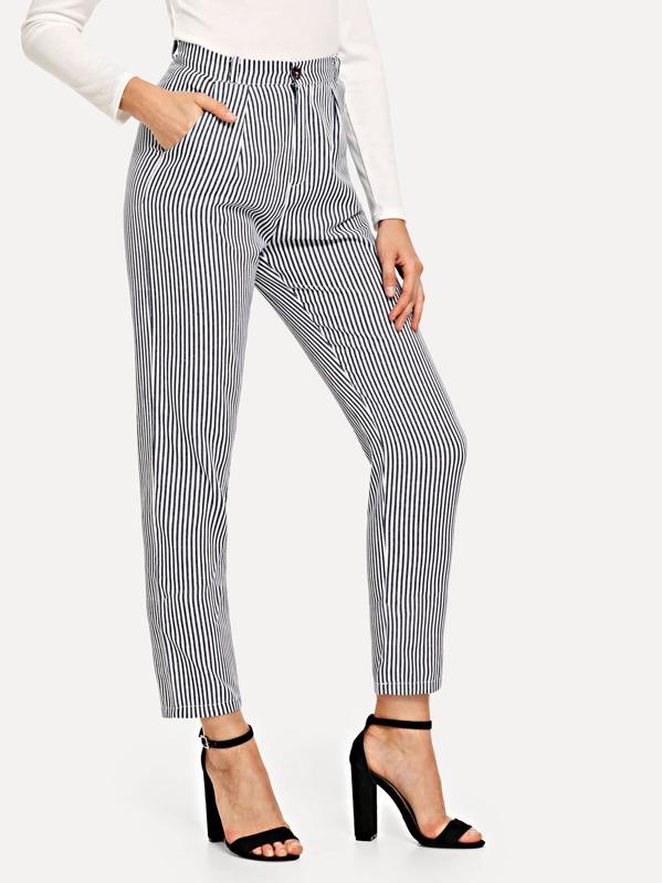 Striped Pocket Side Pants by Sheinside