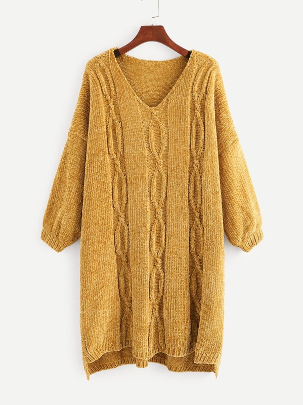 Plus - Robuster Chenille-Pullover mit Zopfmuster- German SheIn ...