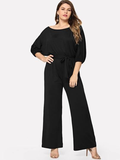 f48339220fe Plus Self Tie Scoop Neck Jumpsuit