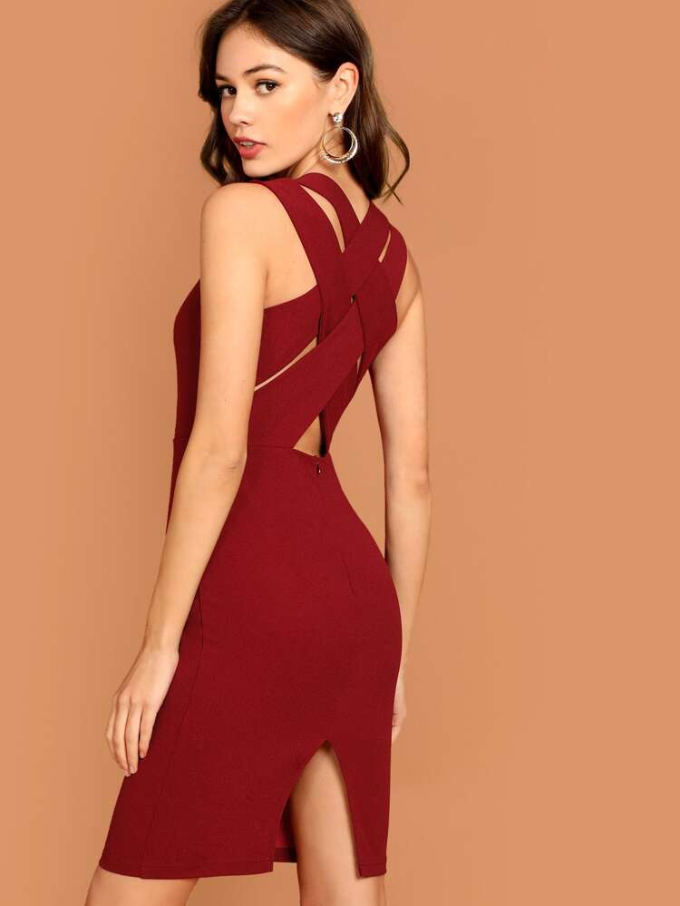 e0f2b21e382 Criss Cross Back Slit Bodycon Dress