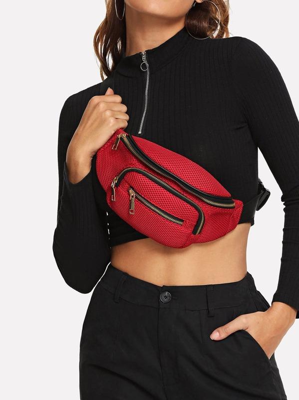 Pocket Front Zipper Bum Bag by Shein