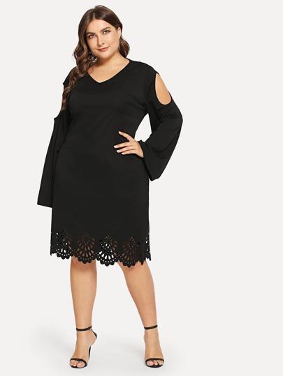 1df53e9a3ce42 Siyah Sade Gündelik Artı Beden Elbiseler