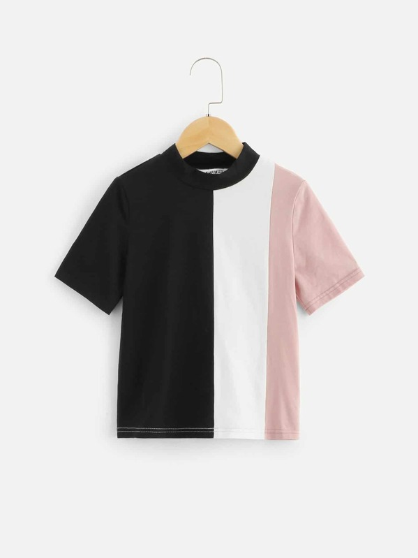 Girls Mock Neck Color Block Tee