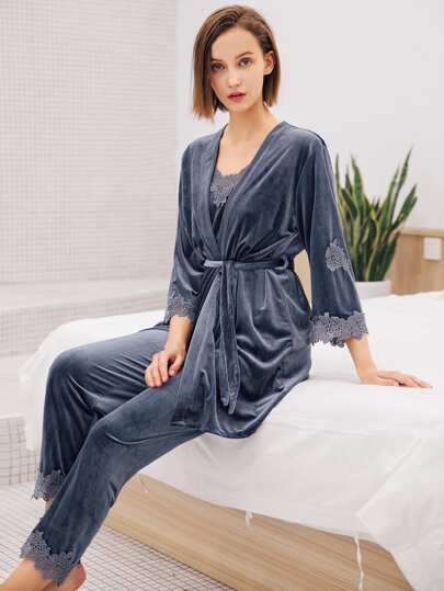 Floral Crochet Velvet Cami Pajama Set With Robe a52329b59