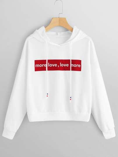 da16b7ff29a Letter Print Drawstring Detail Hooded Sweatshirt