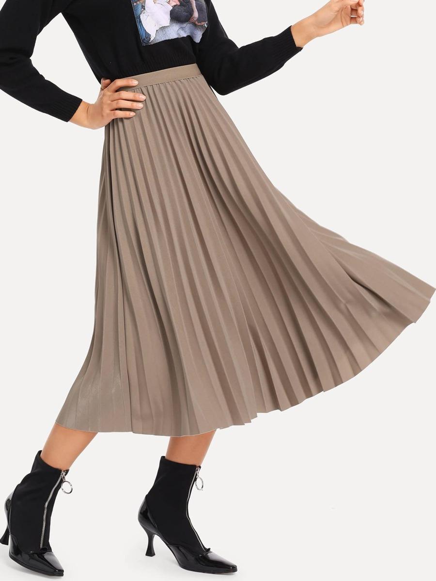 Pleated Elastic Waist Skirt by Sheinside