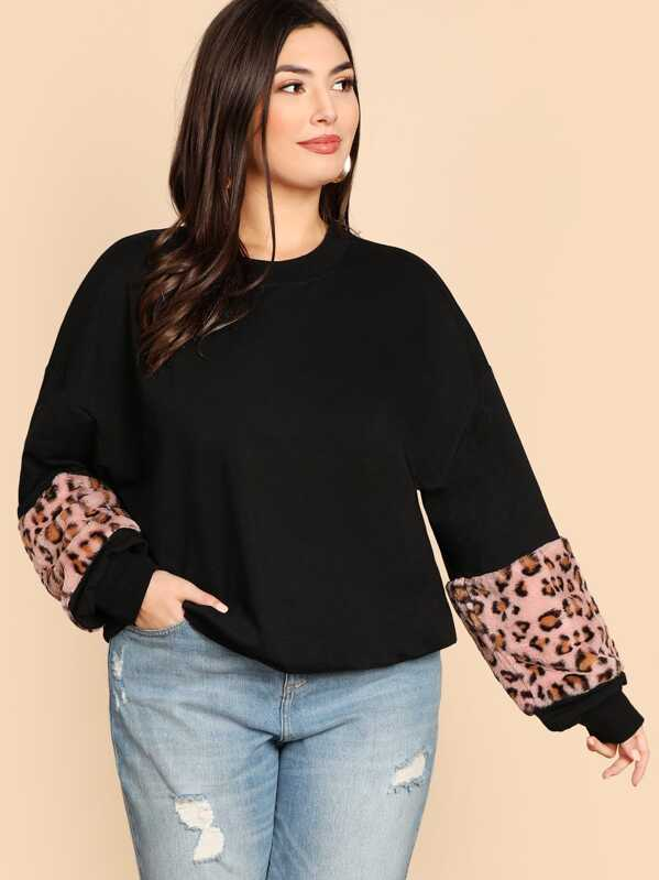 Plus Drop Shoulder Leopard Panel Sweatshirt