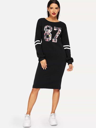 4b6fc7835169 Robe sweat-shirt imprimé varsity avec zip - noir