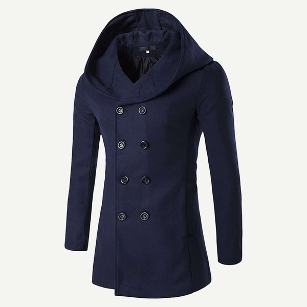 Men Double Breasted Hooded Coat, Navy