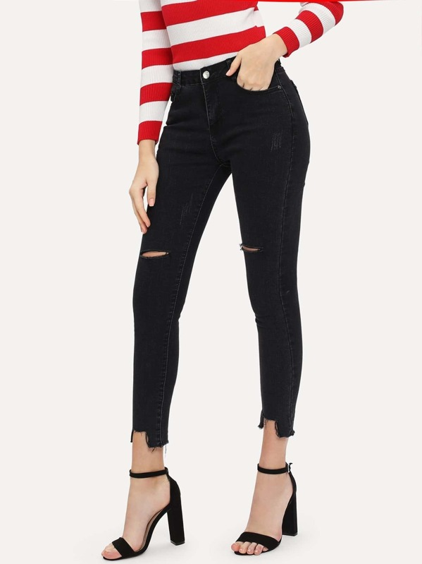 14b734261e9 Knee Rips Raw Hem Skinny Jeans -SheIn(Sheinside)