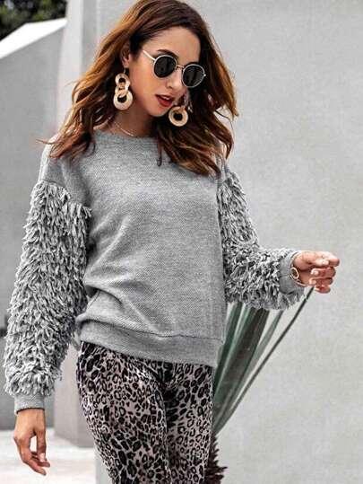 Maglione a maniche lunghe con frange fcd8139765f