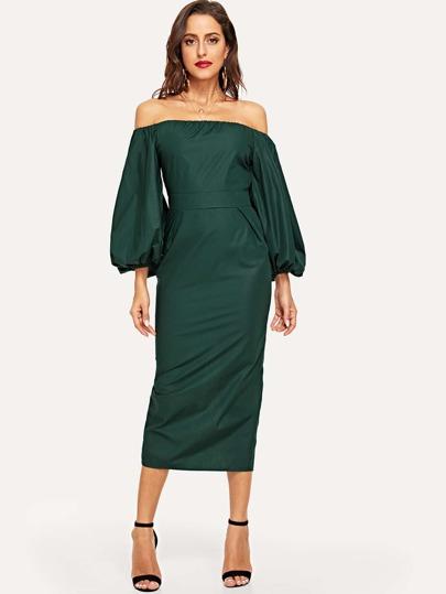 Off Shoulder Lantern Sleeve Slit Back Pencil Dress cb8b22749b17