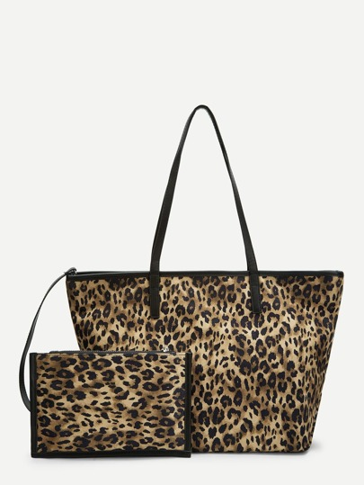 f06f8251d2ae Leopard Pattern Tote Bag With Clutch