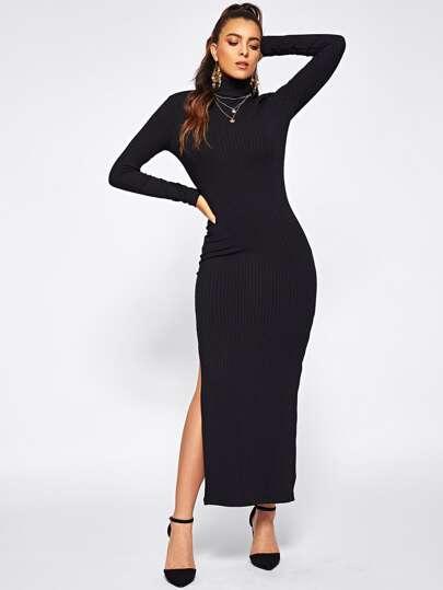 f48d4b1d2d Split Side Rib Knit Fitted Dress