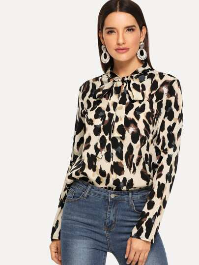 Leopard Print Tied Neck Blouse 3018ef99a