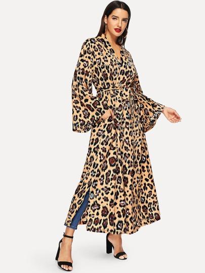 8b0e8d9692 Leopard Print Surplice Dress -SheIn(Sheinside)